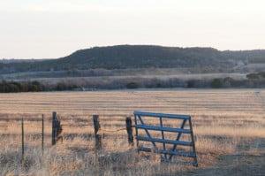 Åkrene på gården til hedmaarkingen Carl QUestad i Norse-distriktet, Bosque County, Tx.