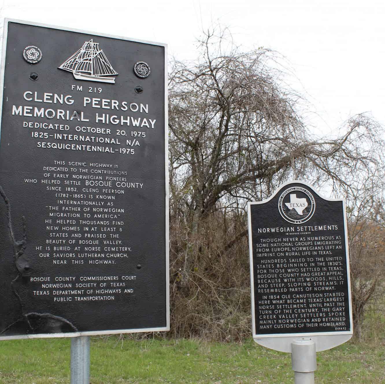 Veien FM 219 i Texas gjennom Norse-distriktet i Bosque County er tilegnet Cleng Peerson og de tidlige norske nybyggerne i Texas.